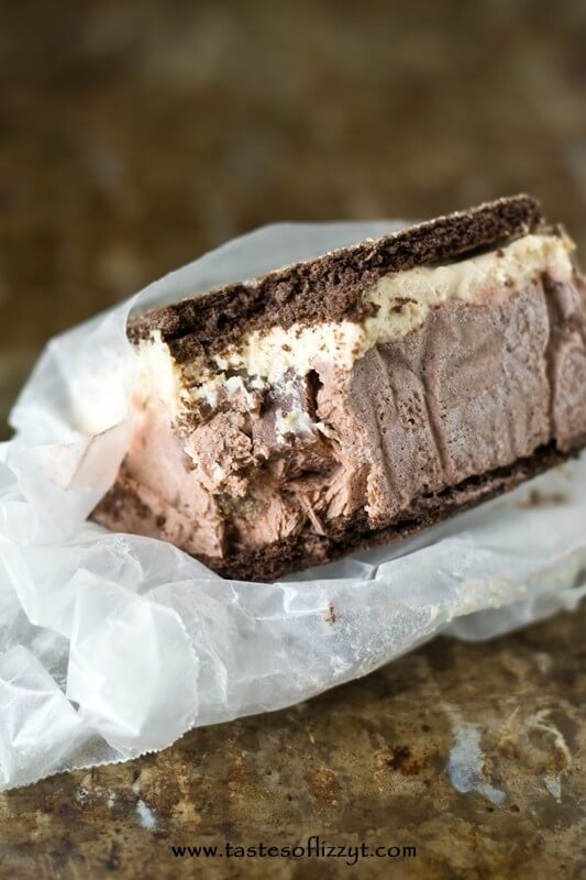 Reese's Stuffed Ice Cream Sandwiches. There's a chocolate pudding layer and a peanut butter layer, with Reese's stuffed between, of course!