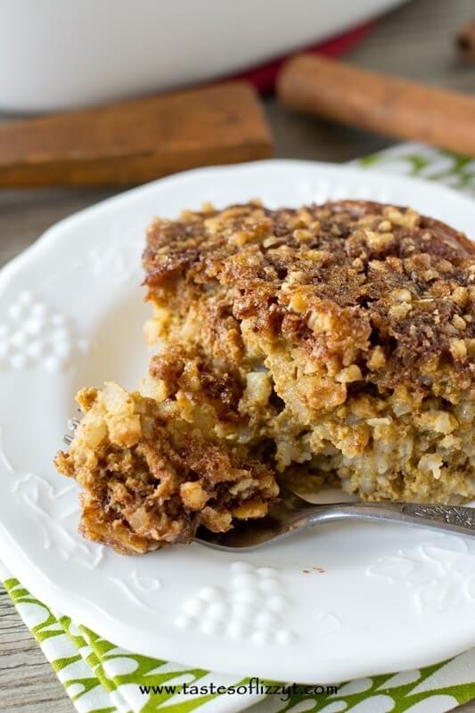 pumpkin dessert made with rice pudding, pumpkin custard and walnut streusel
