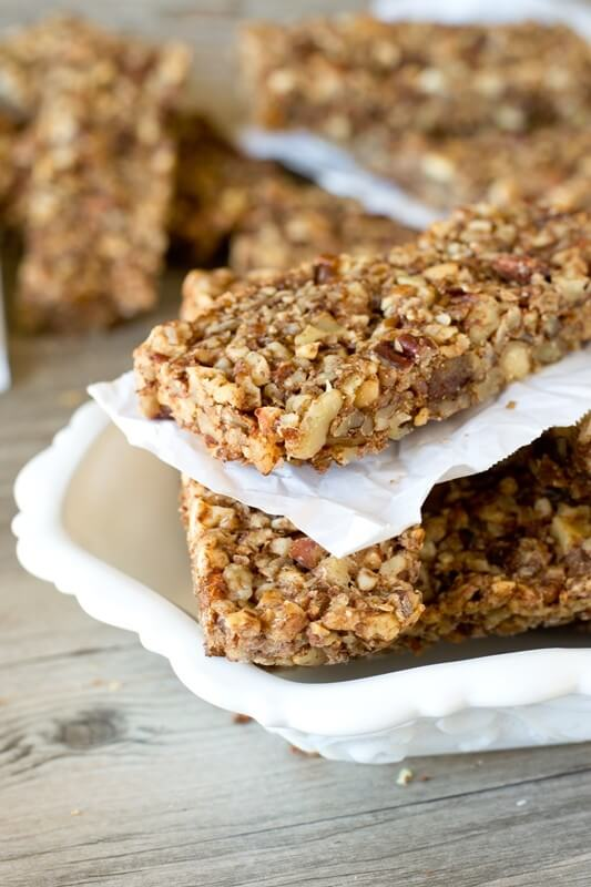 Packed with nuts, dates and a hint of cinnamon, these Paleo Nut Energy Bars