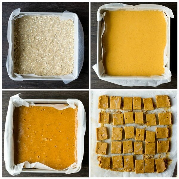 assembling an easy pumpkin pie bars dessert