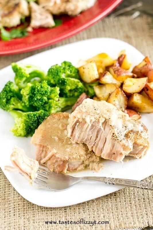 Paleo Slow Cooker Pork Chops dinner made in a slow cooker