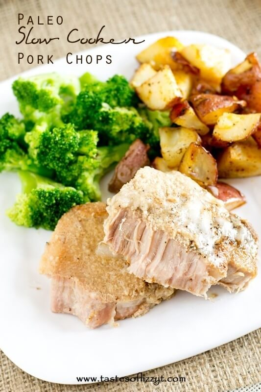 Paleo Slow Cooker Pork Chops on a plate with potatoes and broccoli
