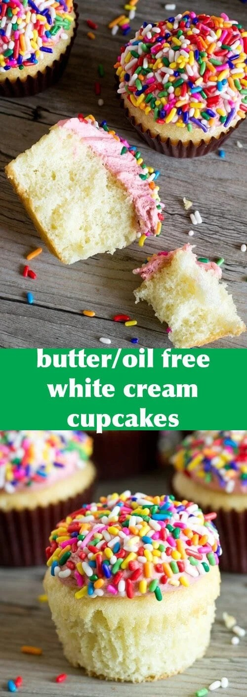 No oil or butter is needed for these White Cream Cupcakes. Cake flour and cream keep them soft and fluffy, making them a classic recipe to add to your recipe box.