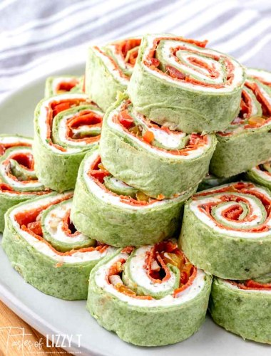 stack of pepperoni pinwheels