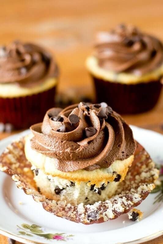 Make your own chocolate chip cupcakes from scratch! Anyone can make these simple white cupcakes that are light and moist with bits of chocolate inside.