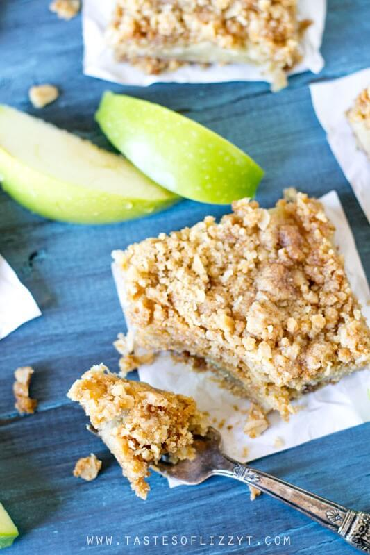 overhead photo of apple oatmeal crumble bars