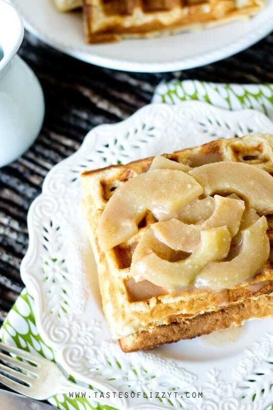 Apple Waffles topped with Cinnamon Apples and syrup