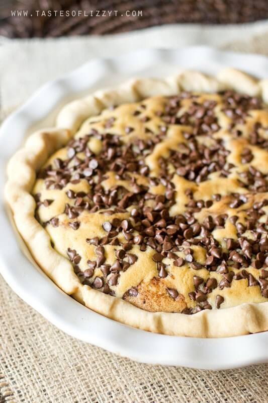 Chocolate Chip Funny Cake Pie is an old recipe that has timeless appeal. Chocolate fudge is topped with a soft, buttery cake and bakes inside a pie shell. Top with ice cream for a delicious pie a la mode.