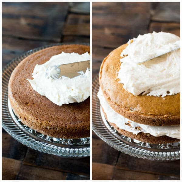 spreading frosting onto pumpkin spice layer cake