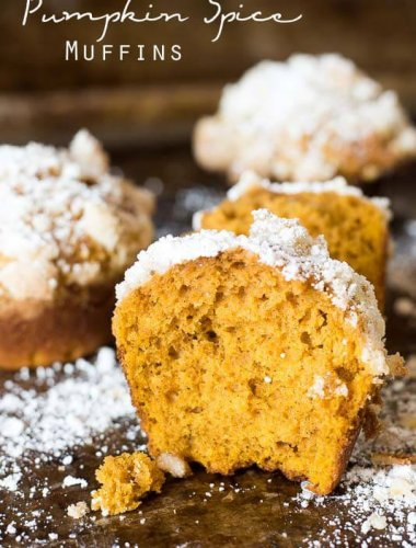 This pumpkin spice muffin is lightly spiced, soft and moist. The streusel and powdered sugar on top adds a hint of sweetness to each bite.