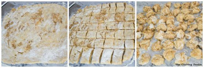 cutting dough to create apple fritter doughnuts