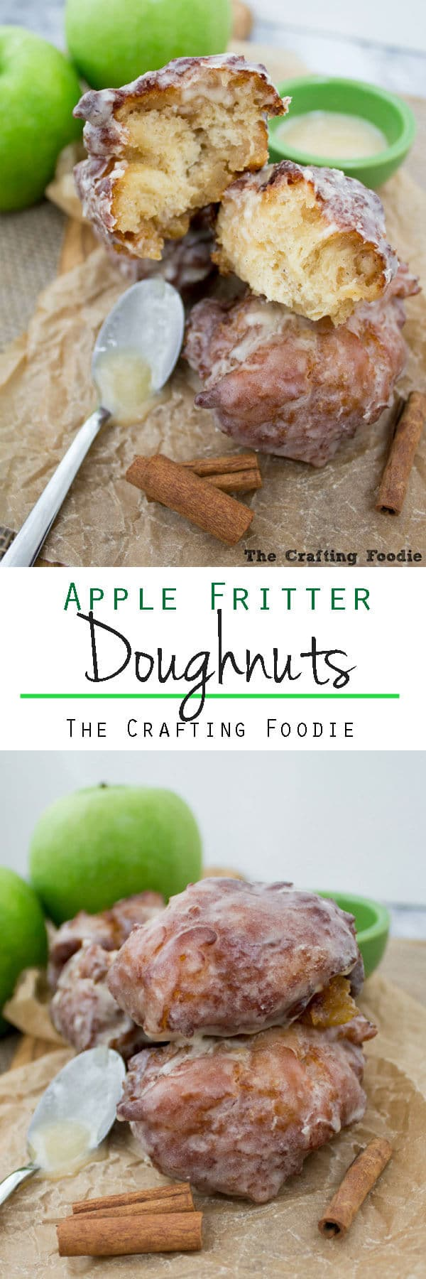 fresh apple fritter doughnuts covered with glaze