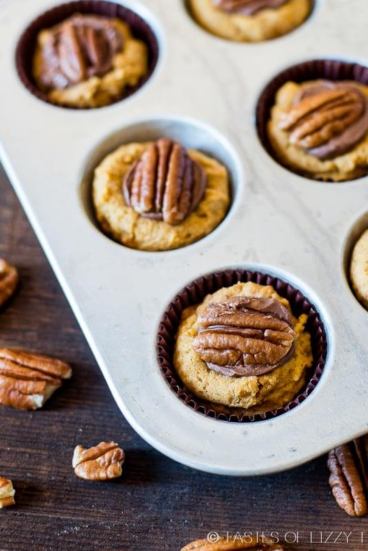 pumpkin cookies stuffed with Rolo candies and walnuts