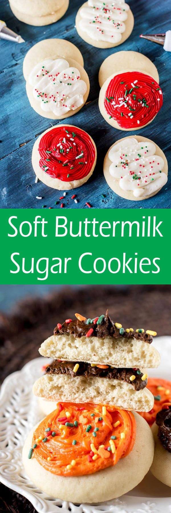 Thick, soft, buttermilk sugar cookies are the best cutout cookies. Similar to lofthouse cookies, these are perfect with a dollop of buttercream frosting.