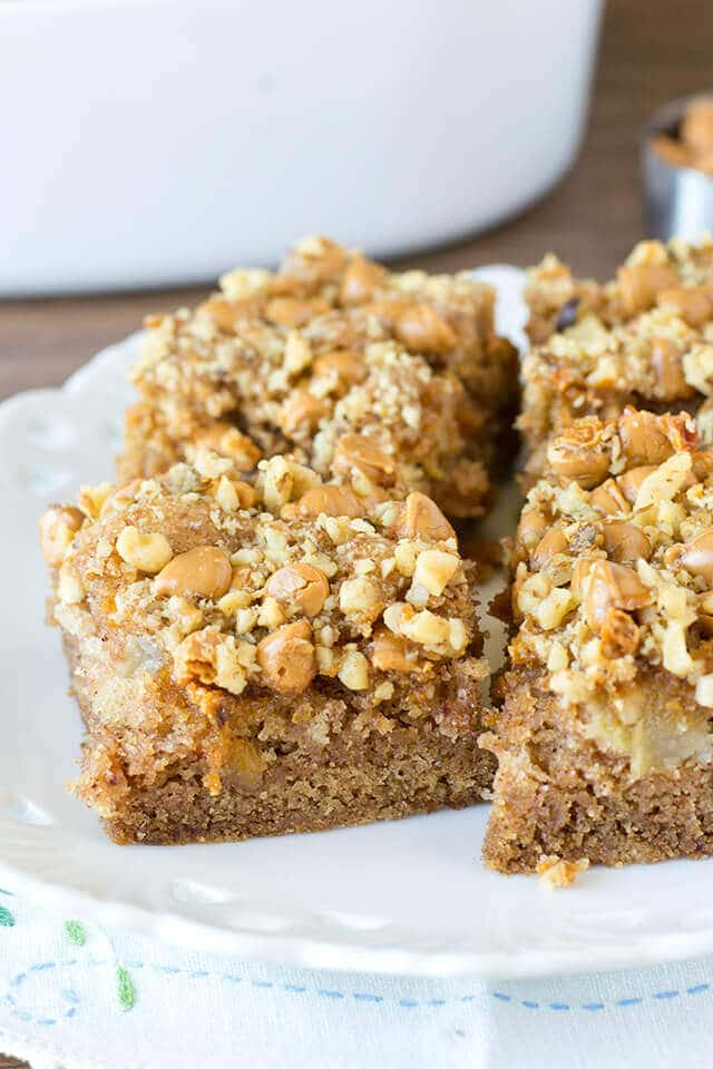 squares of apple butterscotch snack cake