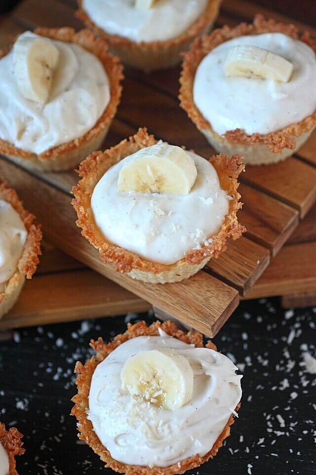 Mini Banana Coconut Cheesecakes