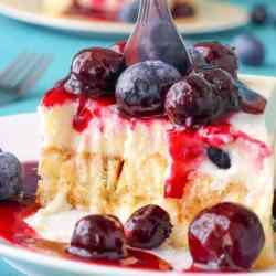 No Bake Blueberry Waffle Cake
