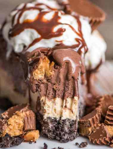 Frozen Chocolate Peanut Butter Pie is an easy no bake dessert with three layers... cookie crust, peanut butter cheesecake and creamy chocolate gelato.