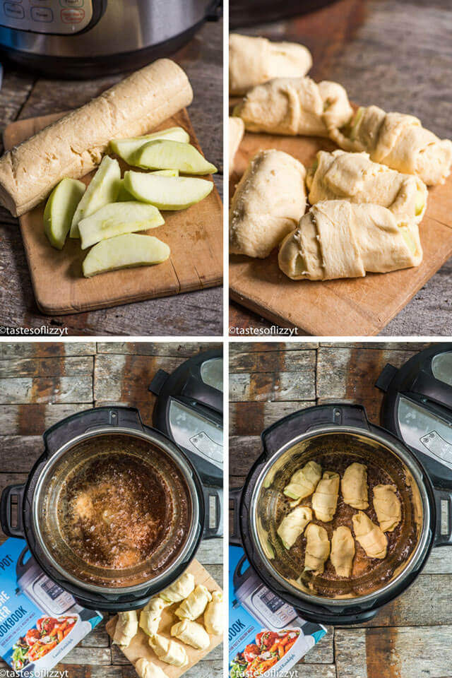 instant pot apple dumplings - easy dessert recipe in under 30 minutes