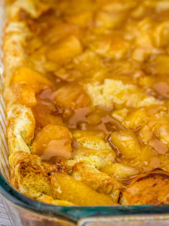 casserole dish of Caramel Apple Bread Pudding