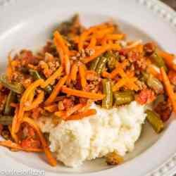 Easy Ground Beef Dinner Idea with carrots and green beans