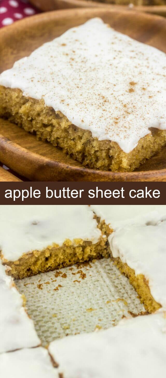 Fall is definitely in the air, especially in this Apple Butter Sheet Cake! Moist and delicious all topped with an apple cider glaze making it the perfect easy cake for fall!