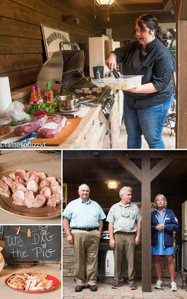 photo collage of fresh pork being prepared and the pork farmers who provided it