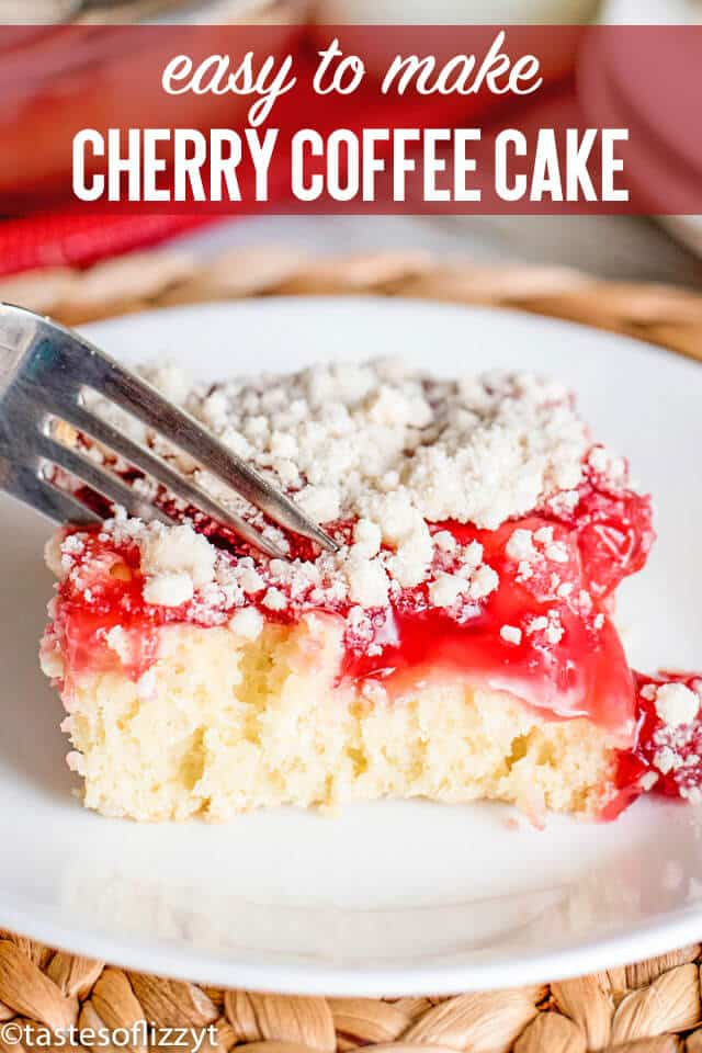 Breakfast, brunch or dessert, this easy cherry coffee cake is easy to make! A homemade cake pairs with canned pie filling...choose whatever pie filling you'd like!