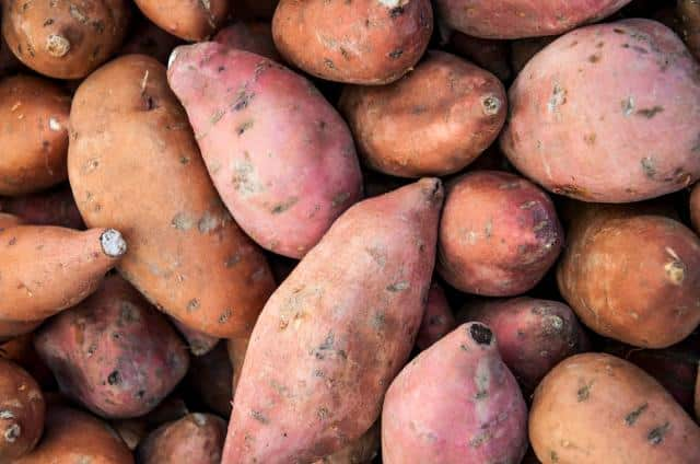 close up image of organic sweet potatoes