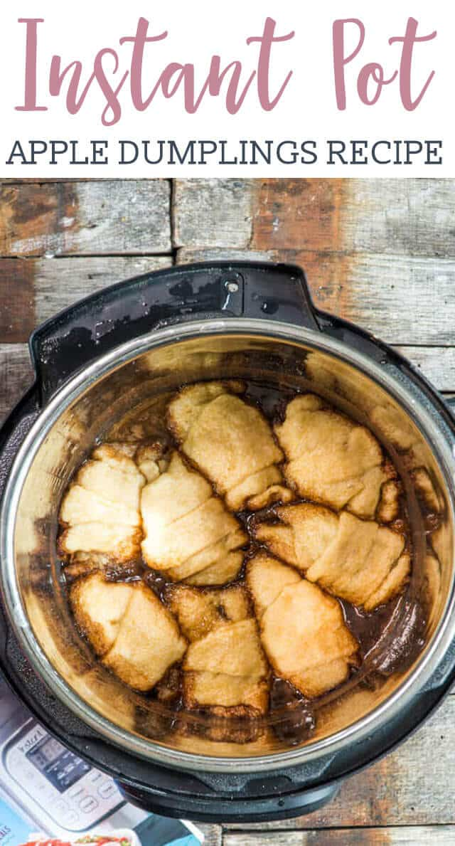 Instant Pot Apple Dumplings are ready in under 30 minutes! This easy apple dumpling recipe uses crescent rolls and a brown sugar, cinnamon, apple cider syrup to make a quick dessert that tastes like fall.