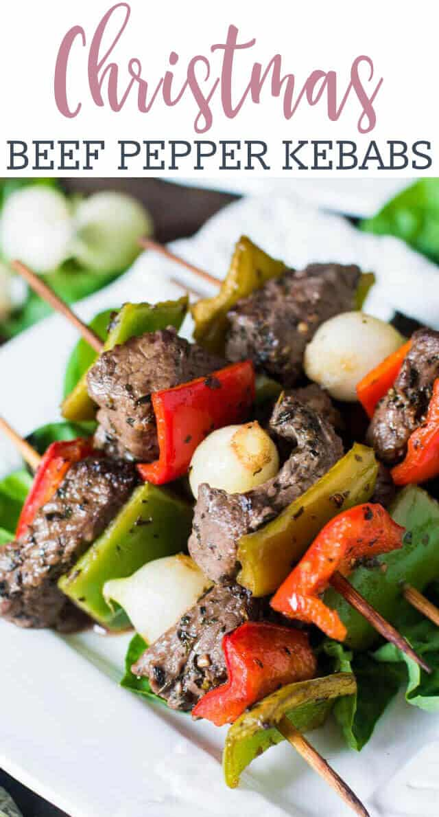 simple tangy and spicy marinade covers these Christmas kebabs with top sirloin steak, peppers and pearl onions.