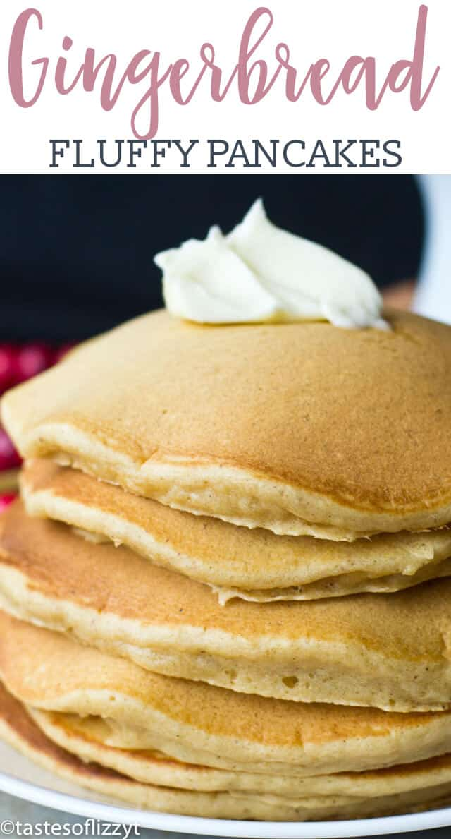 These gingerbread pancakes are fluffy, light pancakes with just hint of ginger spice added. Perfect for the a Christmas morning breakfast!