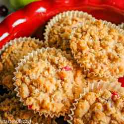 cranberry pear buttermilk muffins with streusel