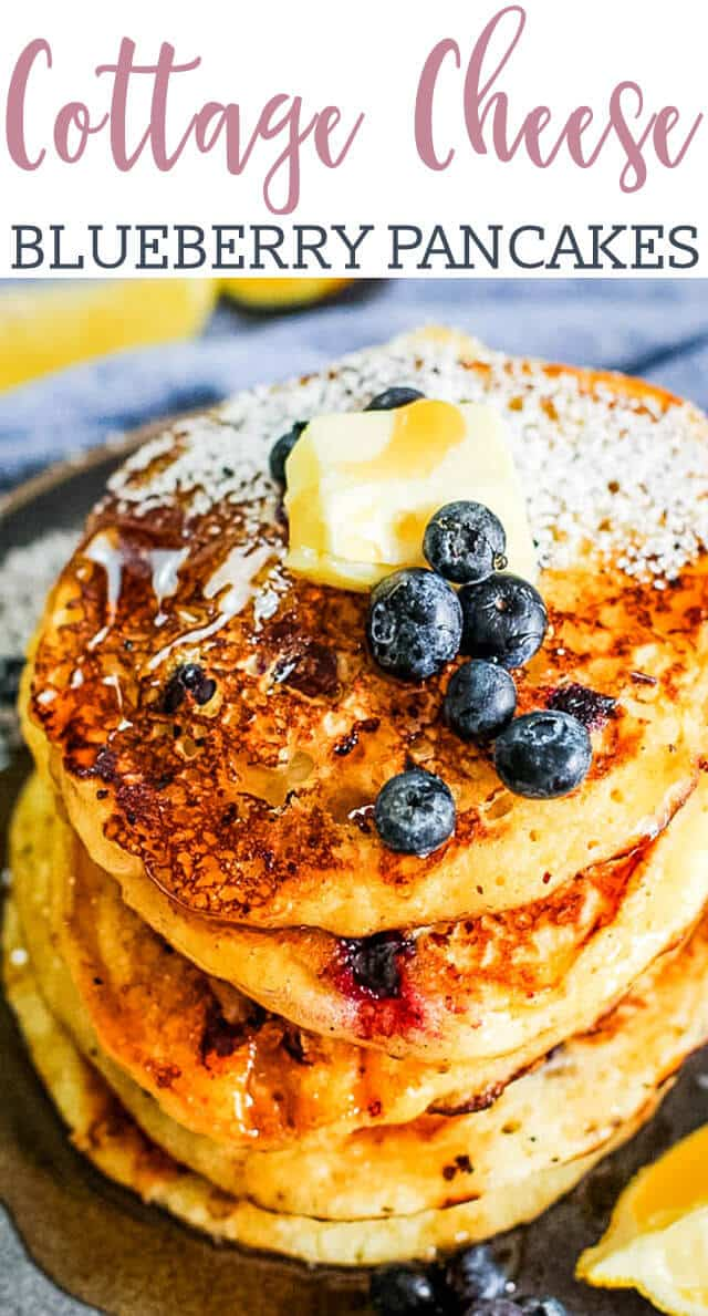 titled photo (and shown): cottage cheese blueberry pancakes