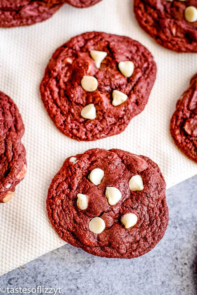 soft red velvet cookies with white chocolate chips