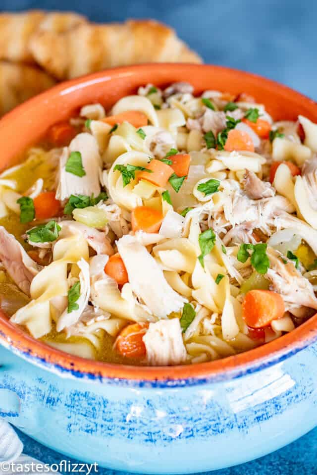 Chicken Noodle Soup in a clay pot