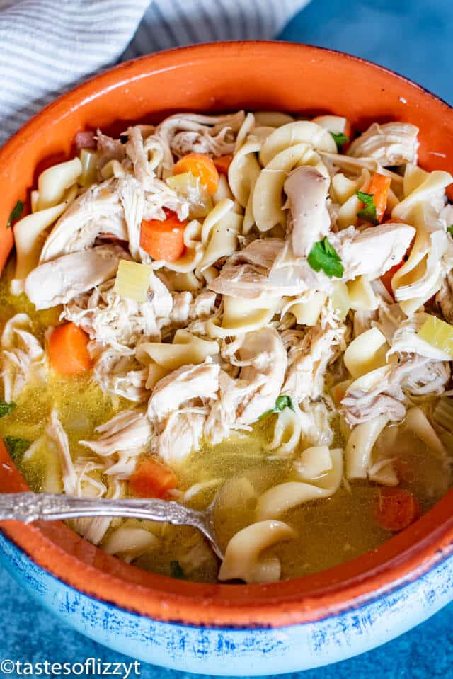 Chicken Noodle Soup with whole chicken