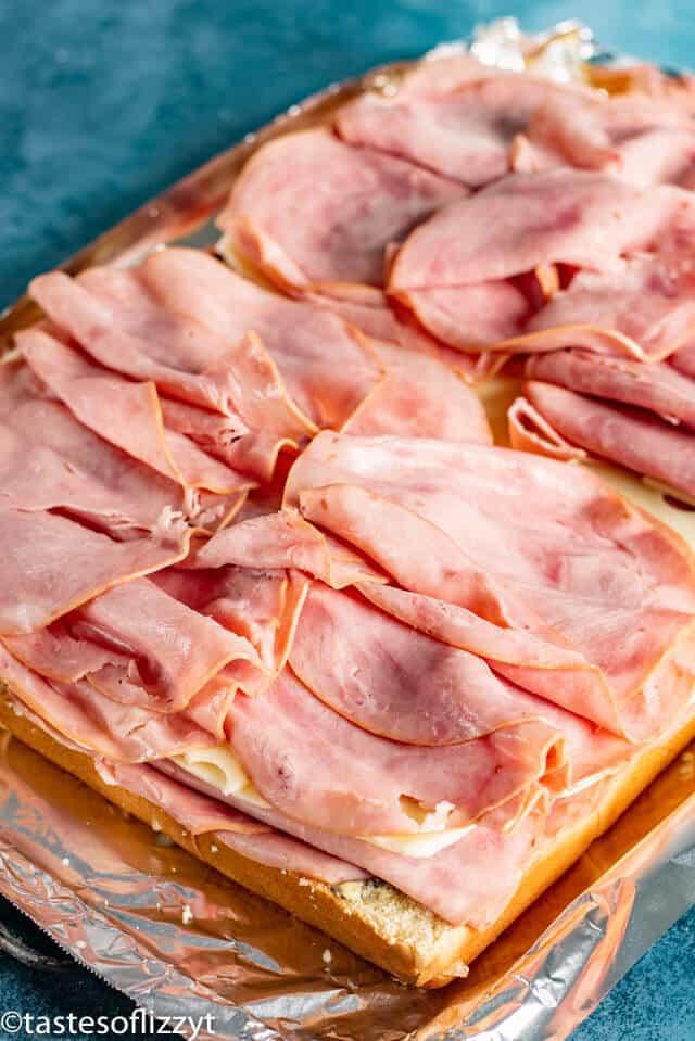 Ham and Cheese Sliders - process shot