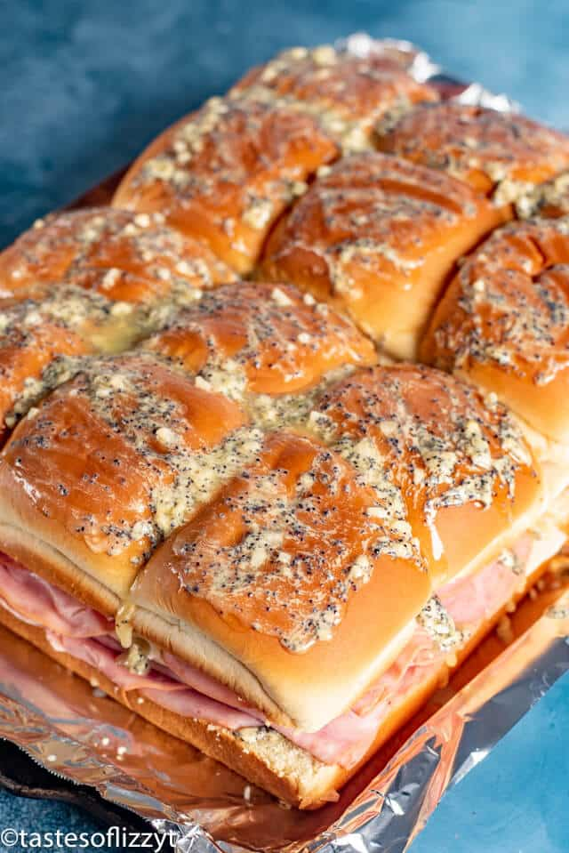Ham and Cheese Sliders - unbaked with butter drizzle
