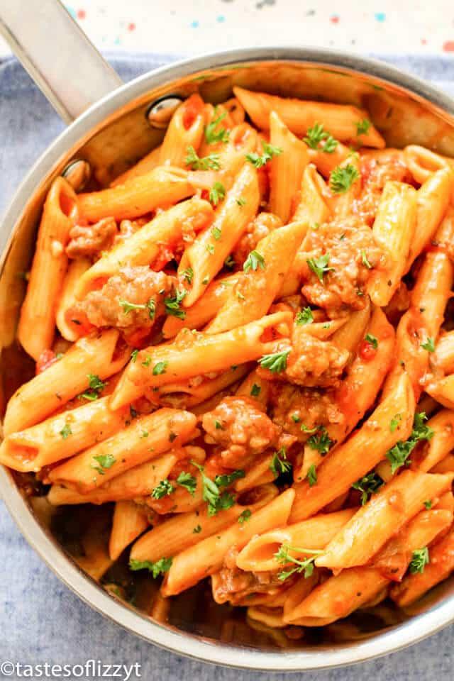 one-pot pasta with ground Italian sausage