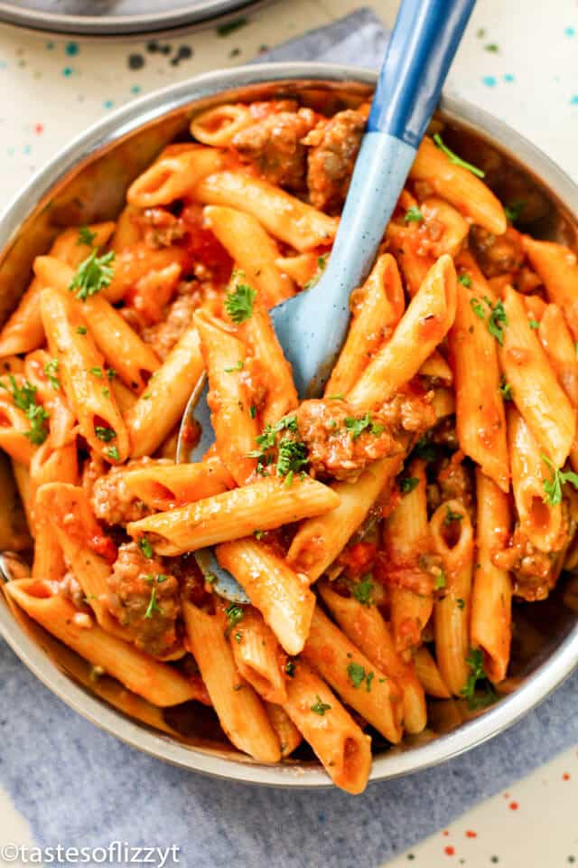Italian sausage pasta dinner in a large pot
