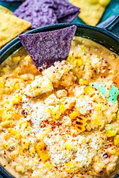 Mexican Street Corn Dip with nachos