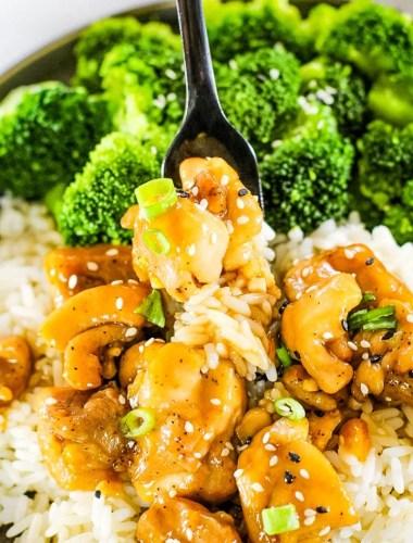 Teriyaki Chicken Recipe closeup with sesame seeds