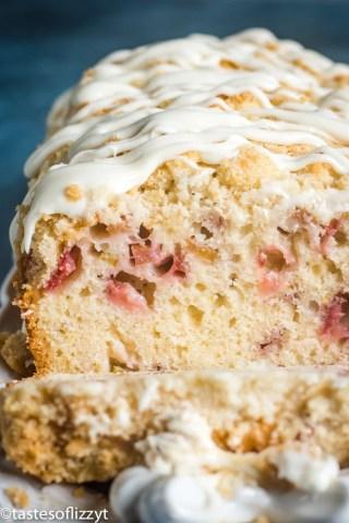 Strawberry Rhubarb Bread with glaze