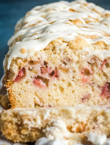 Strawberry Rhubarb Bread with glaze