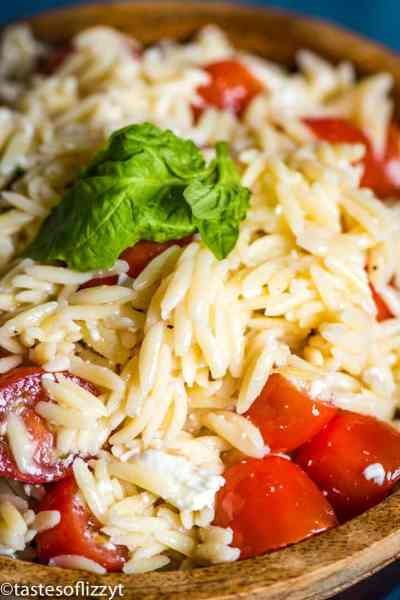 Tomato Orzo Pasta Salad with fresh basil