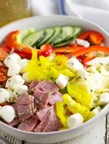 italian sub salad recipe with fresh mozzarella
