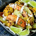 Loaded Mexican Potato Wedges with grilled corn