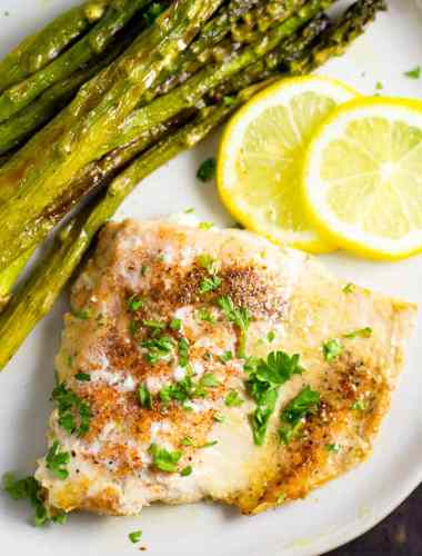 Lemon Garlic Butter Salmon with asparagus