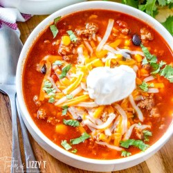 bowl of Beefy Mexican Rice Soup